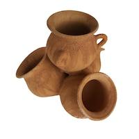 Ghiveci ceramic cu 4 buzunare, pentru gradina/foisor,handmade, 37hx40Lx43l, impermeabilizat, natur