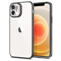 Удароустойчив силиконов кейс Spigen Optik Crystal за Apple iPhone 12, Chrome Grey