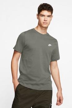 Nike, Tricou cu logo brodat Club, Verde feriga/Alb