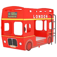 vidaXL piros MDF londoni busz formájú emeletes ágy 90 x 200 cm