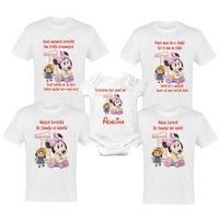 Set 4 tricouri si body pentru aniversare 1 an, taierea motului, albe din bumbac cu tema-MINNIE Mouse