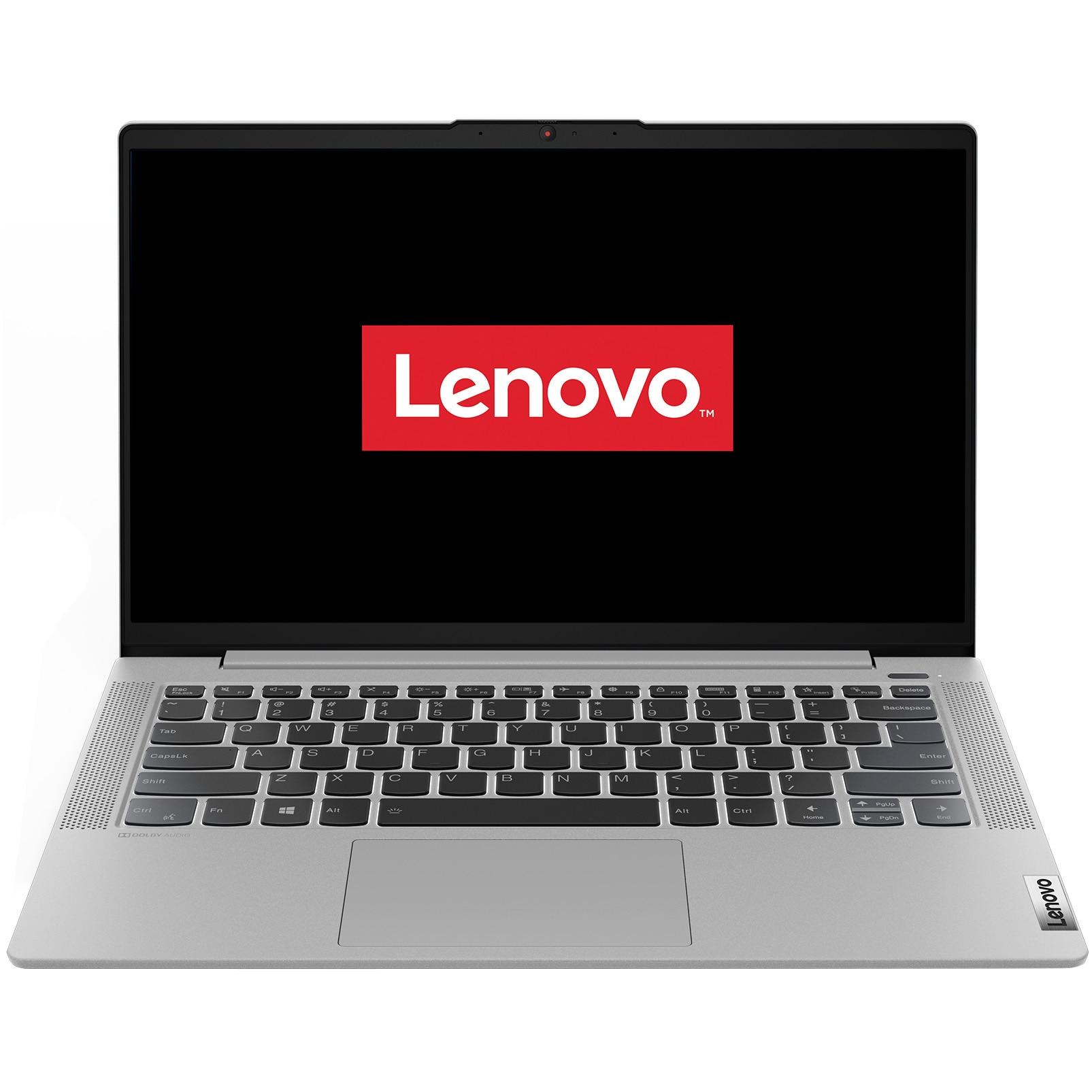 "Fotografie Laptop ultraportabil Lenovo IdeaPad 5 14ALC05 cu procesor AMD Ryzen 5 5500U pana la 4.00 GHz, 14"", Full HD, 8GB, 512GB SSD, AMD Radeon Graphics, Free DOS, Platinum Grey"