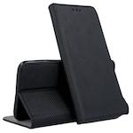 Telefontok Samsung Galaxy A12 - fekete mágneses szilikon keretes könyvtok