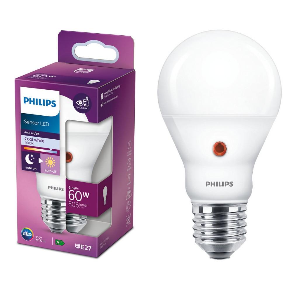 Fotografie Bec LED cu senzor de lumina Philips, EyeComfort, A60, E27, 6.5W (60W), 806 lm, A+, lumina alba rece (4000K)