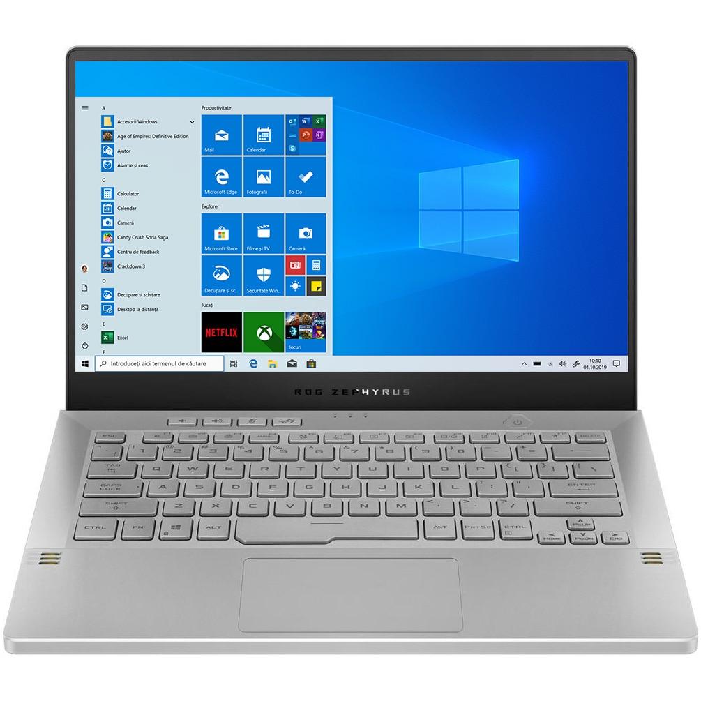 "Fotografie Laptop Gaming ASUS ROG Zephyrus G14 GA401QM cu procesor AMD Ryzen™ 9 5900HS, 14"", Full HD, 144Hz, 16GB, 512GB SSD, NVIDIA® GeForce RTX™ 3060 6GB, Windows 10 Home, Moonlight White AniMe Matrix"