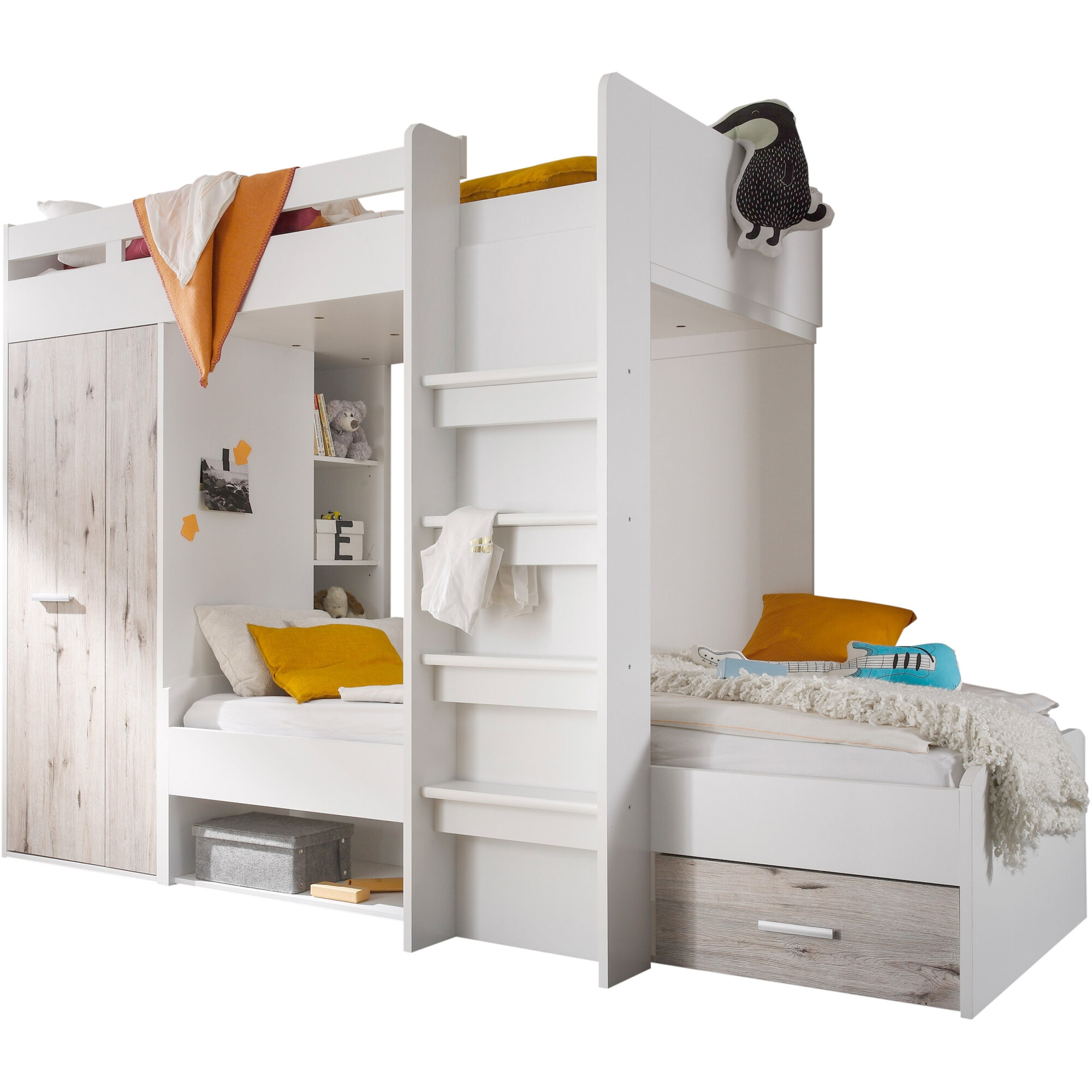 Fotografie Dormitor tineret Maxi, 269x115x180 cm, 2 paturi 90x200 cm, dulap, raft, Culoare Alb, Stejar Nisip