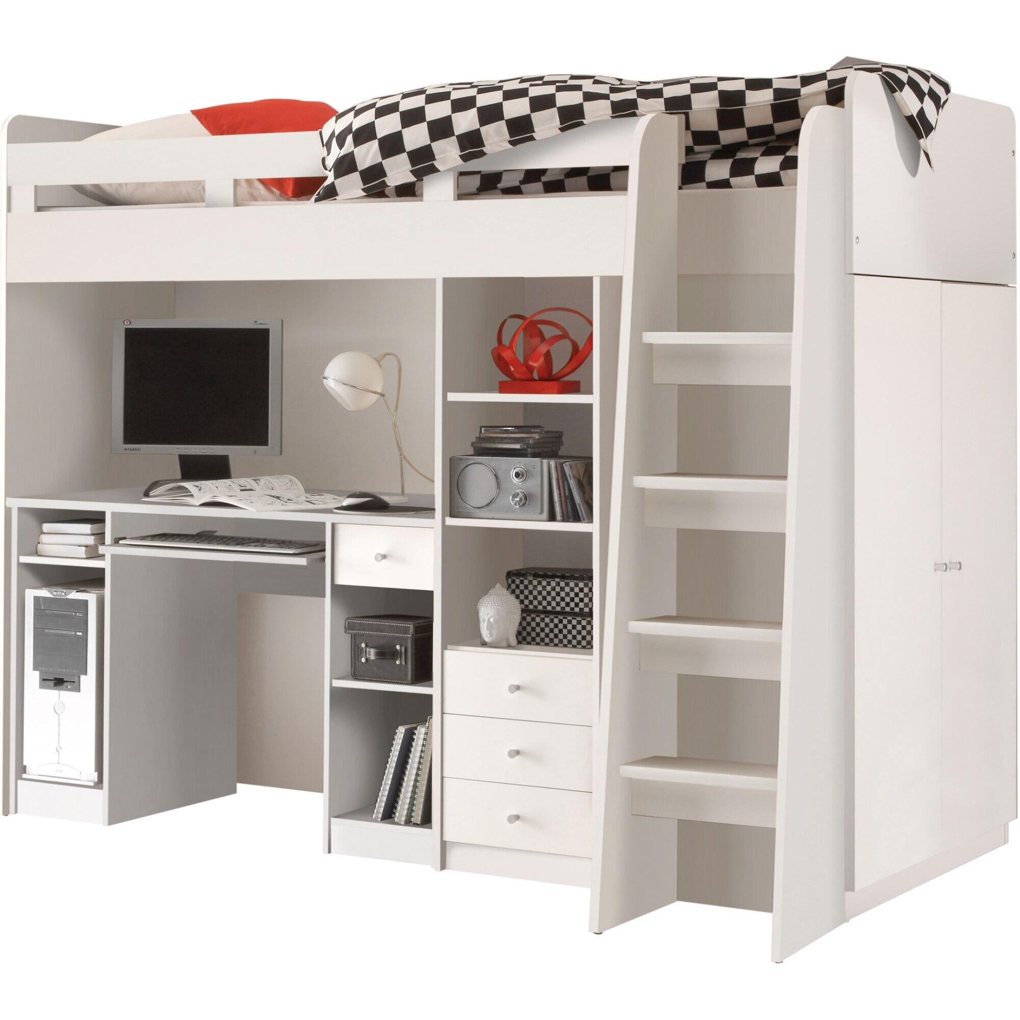 Fotografie Set dormitor tineret Unit, 204x124x160 cm, saltea 90x200 cm, dulap, birou