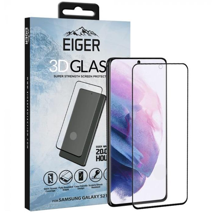 Fotografie Folie de protectie Eiger Sticla 3D Case Friendly pentru Samsung Galaxy S21 Plus Clear Black , 0.33mm, 9H, oleophobic