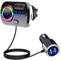 Bluetooth FM transzmitter, kihangosító, AUX bemenet, microSD kártya bemenet- 8 színű LED háttérvilágítással