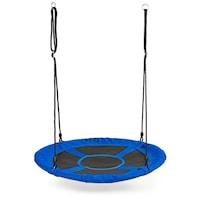Leagan tip cuib cu plasa, cadru metalic, rezistent la conditiile meteorologice, diametru 100 cm, sarcina maxima 100 kg, albastru