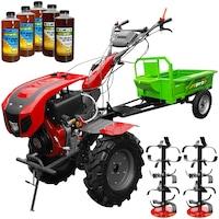 Set Motocultor Weima WM1100BE-6, motor 10 CP, diesel, 6 viteze, latime lucru 135 cm, pornire electrica, reductor usor/greu, remorca, 5l ulei AgroPro