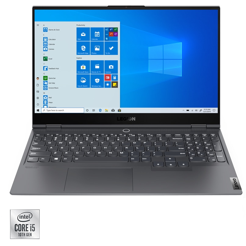 "Fotografie Laptop Gaming Lenovo Legion S7 15IMH5 cu procesor Intel Core i5-10300H pana la 4.50 GHz, 15.6"", Full HD, IPS, 144Hz, 16GB, 512GB SSD, NVIDIA GeForce GTX 1660 Ti Max-Q 6GB, Windows 10 Home, Slate Grey"