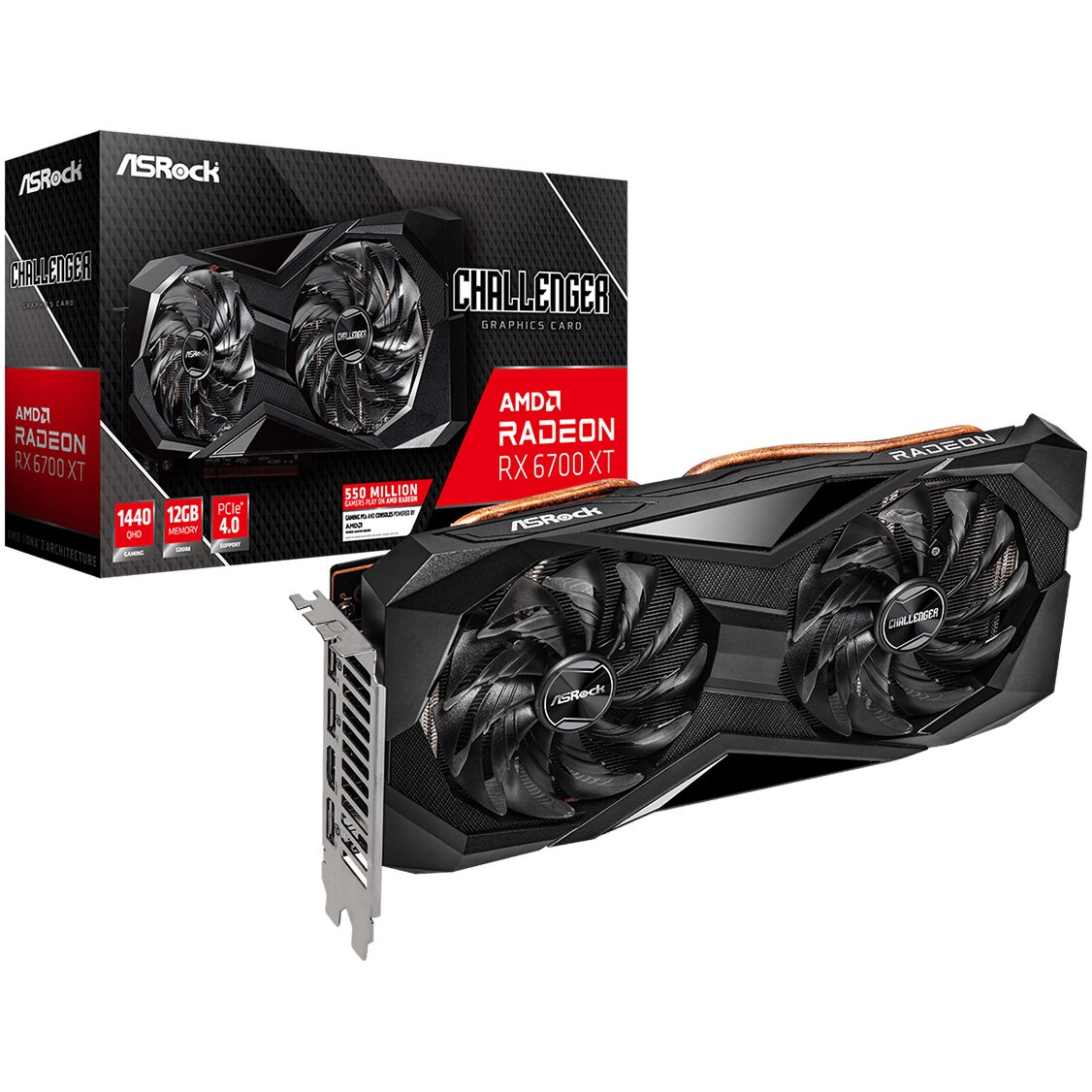 Fotografie Placa video ASRock Radeon™ RX 6700 XT Challenger D, 12GB GDDR6, 192-bit