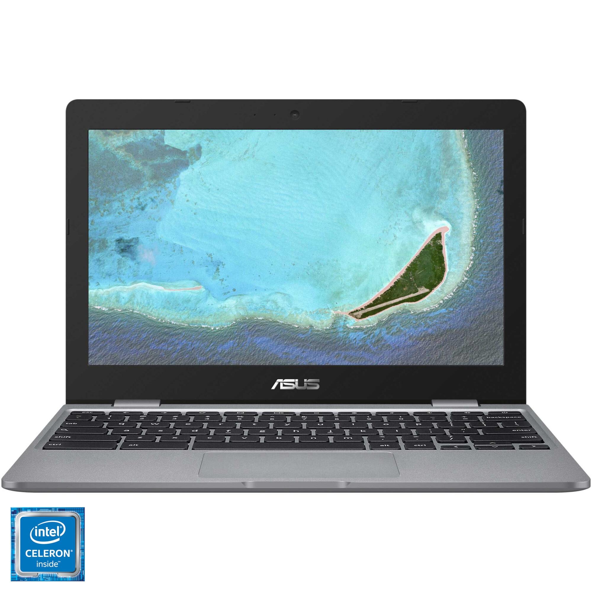 "Fotografie Laptop ultraportabil ASUS ChromeBook C223NA cu procesor Intel Celeron N3350 pana la 2.40 GHz, 11.6"", HD, 4GB, 32GB eMMC, Intel HD Graphics 500, Chrome, Grey"