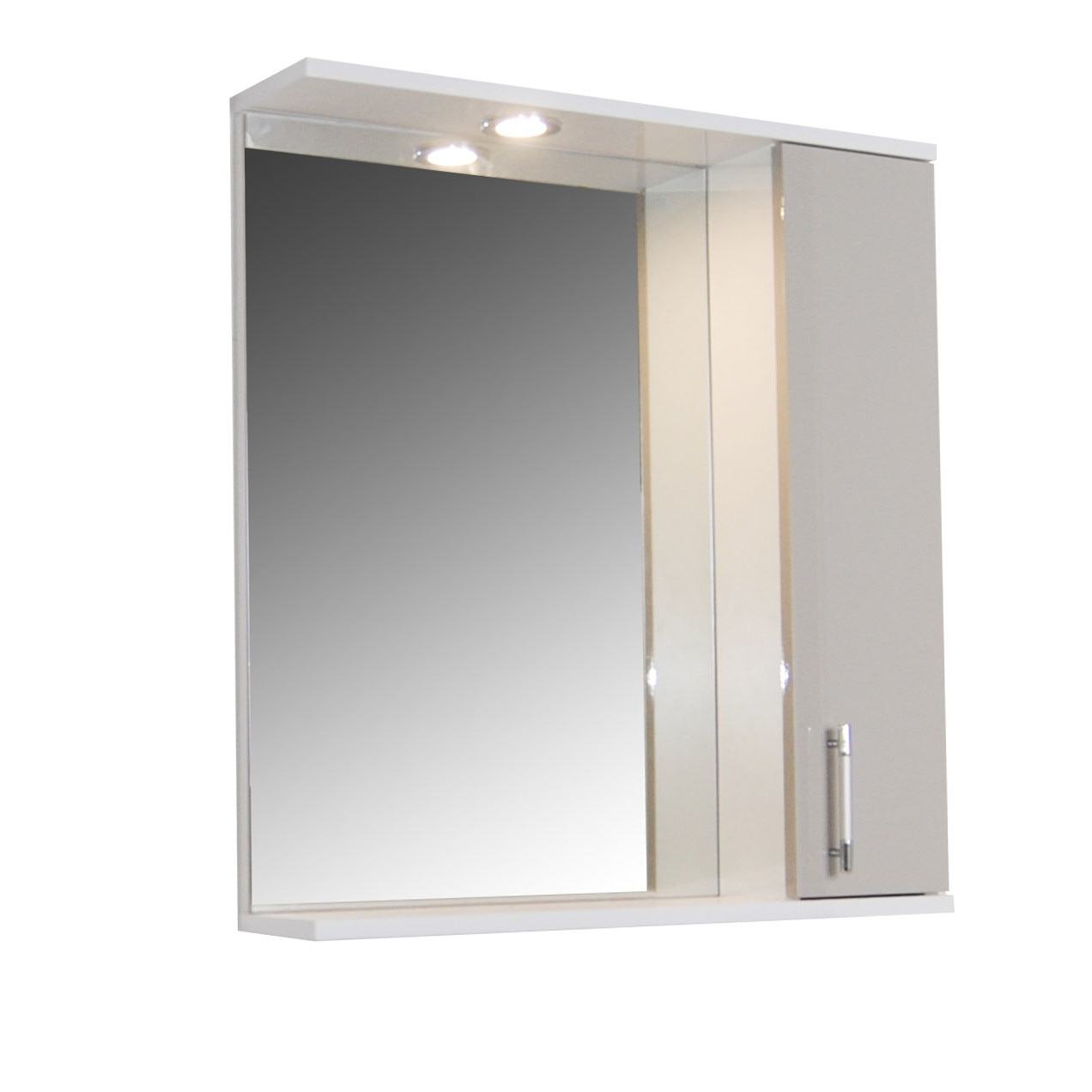Fotografie Oglinda baie cu dulap si iluminare Badenmob 020, 2 rafturi, MDF, PAL, 71x65x14 cm, RAL 7044