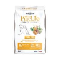 Суха храна за котки Pro Nutrition Pure Life Cat STERILIZED, За кастрирани, С патешко и сардини, Без зърнени култури и глутен, 8 кг.