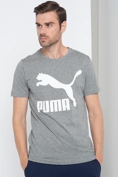 Puma, Classics kerek nyakú logós póló, Melange szürke/Fehér, S