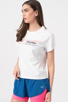 Puma, Evide logómintás póló, Fehér/Neon rózsaszín