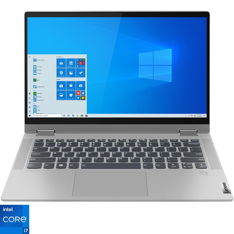 "Fotografie Laptop 2 in 1 Lenovo IdeaPad Flex 5 14ITL05 cu procesor Intel Core i7-1165G7 pana la 4.70 GHz, 14"", Full HD, Touch, 8GB, 512GB SSD, Intel Iris Xe Graphics, Windows 10 Home, Platinum Grey"