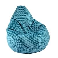 Пуф Pufrelax, круша за деца от 2-10 години, Nirvana Light - Paris blue, Перящ се текстилен калъф, Пълнеж от Полистиролни перли, Гама Premium