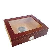 Кутия за пури Eleon 920030, хумидор с външен влагомер, прозрачен капак, 20 пури, махагон