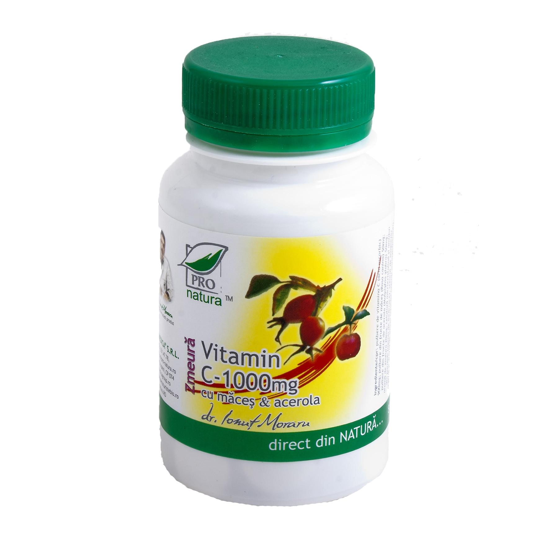 Vitamina C 1000mg cu maceșe și acerola cu zmeură, 60 comprimate, Pro Natura
