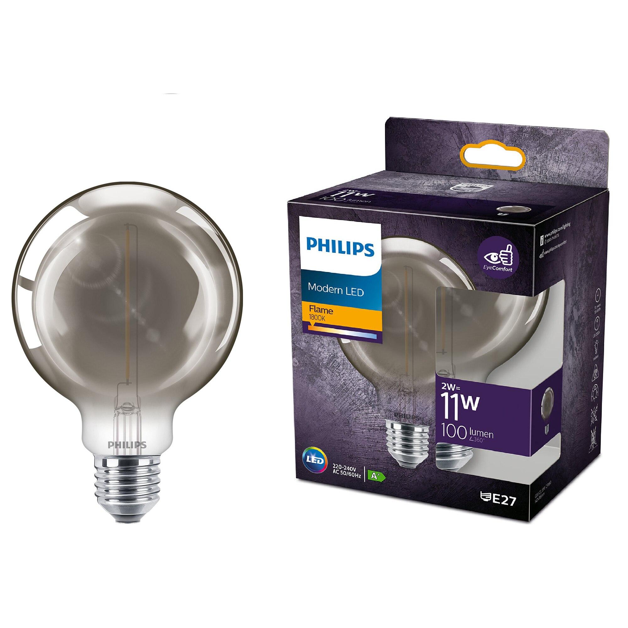 Fotografie Bec LED vintage (decorativ) Philips Classic, EyeComfort, G93, E27, 2 W (11W), 100 lm, lumina calda flacara (1800K), Smoky, 14.2 cm