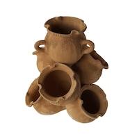 Ghiveci ceramic cu 7 buzunare, pentru gradina/foisor,handmade, 40hx33Ø, impermeabilizat, natur