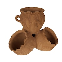 Ghiveci ceramic cu 4 buzunare, pentru gradina/foisor,handmade, 30hx35Ø, impermeabilizat, natur