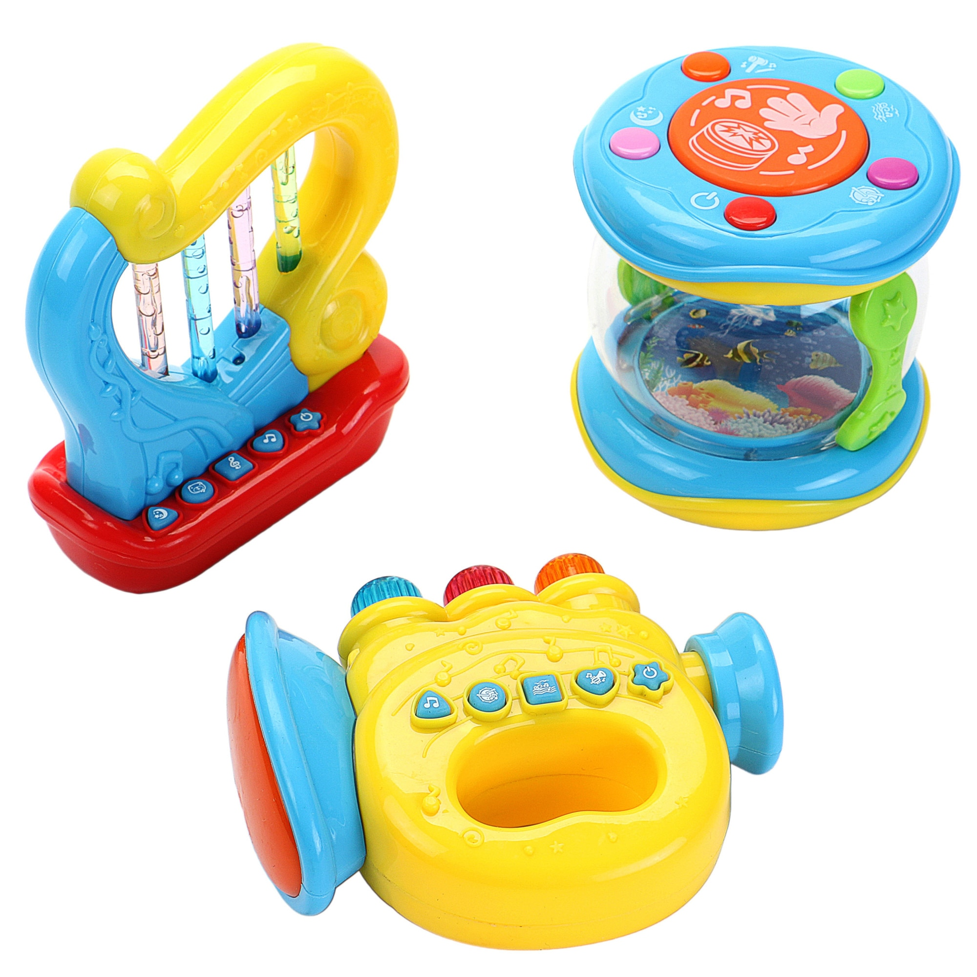 Fotografie Set jucarii bebelusi M-Toys, trompeta, harpa si toba, cu lumini si sunete