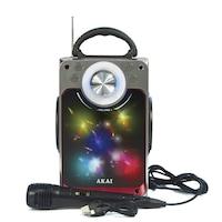 Boxa Portabila, Putere 6W, Bluetooth, AUX 3.5mm, USB, Radio FM, Karaoke, Lumini LED, Lumini Disco, Antena Extensibila, Maner de transport, Microfon, Negru