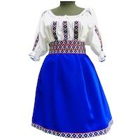 Costum popular dama,bumbac,minimat,alb,albastru,M