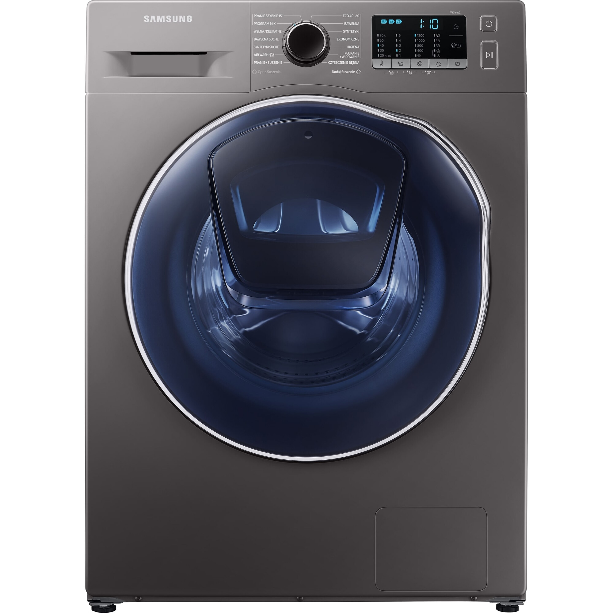 Fotografie Masina de spalat rufe cu uscator Samsung Slim WD8NK52E0ZX/LE, 8 kg spalare, 5 kg uscare, 1200 rpm, Clasa C, Motor Digital Inverter, Eco Bubble, Air Wash, Add Wash, Steam, Inox