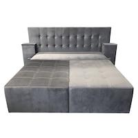 Canapea extensibila cu tablie de pat Rafael 160, Iza, Relaxa, lada, noptiere, perne, culoare gri, plus, 250x115x105