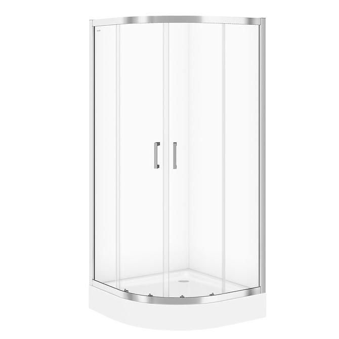 Fotografie Cabina de dus Cersanit Basic, semi-rotunda, 90X90X185cm, sticla transparenta