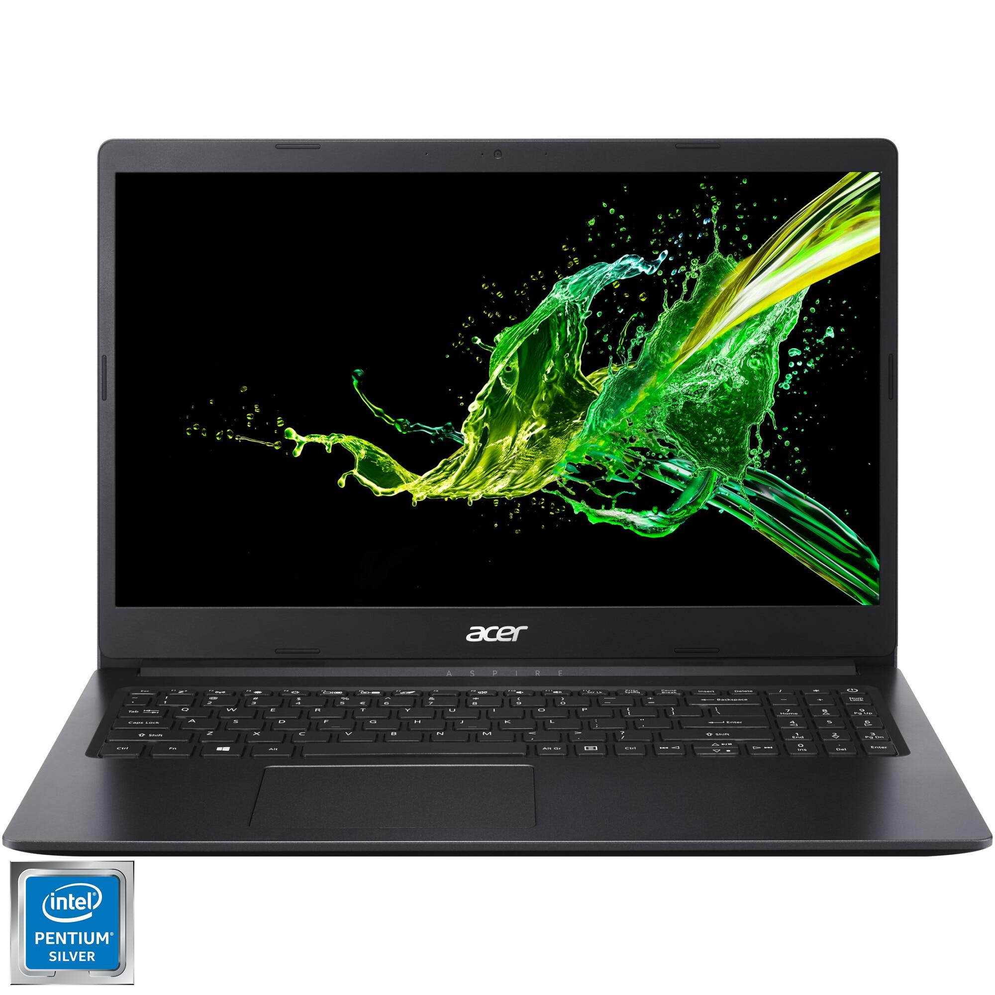 "Fotografie Laptop Acer Aspire 3 cu procesor Intel® Pentium® Silver N5030 pana la 3.10 GHz, 15.6"", Full HD, 4GB, 128GB SSD, Intel® UHD Graphics 605, No OS, Black"