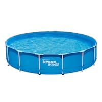 Summer Waves SW MF457X91FPD Fémlábas kék medence 4,57mx91cm, papírszűrős vízforgatóval, létrával, aljtakróval, fedővel