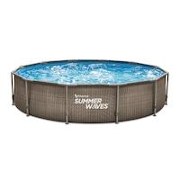 Summer Waves SW RATMF366X76FPI Fémlábas mintás medence papírszűrős vízforgatóval, 3,66m x 76cm