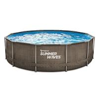 Summer Waves SW RATMF366X91FPD Fémlábas mintás medence papírszűrős vízforgatóval, létrával, fedővel, 3,66m x 91cm