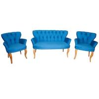 Set Canapea cu 2 Fotolii Acellia Modella, culoare Albastru Ciel