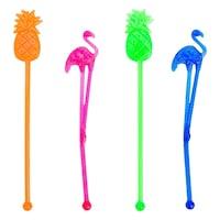 Set 10 agitatoare plastic colorate pentru cocktail petrecere, Lioness, 15 cm