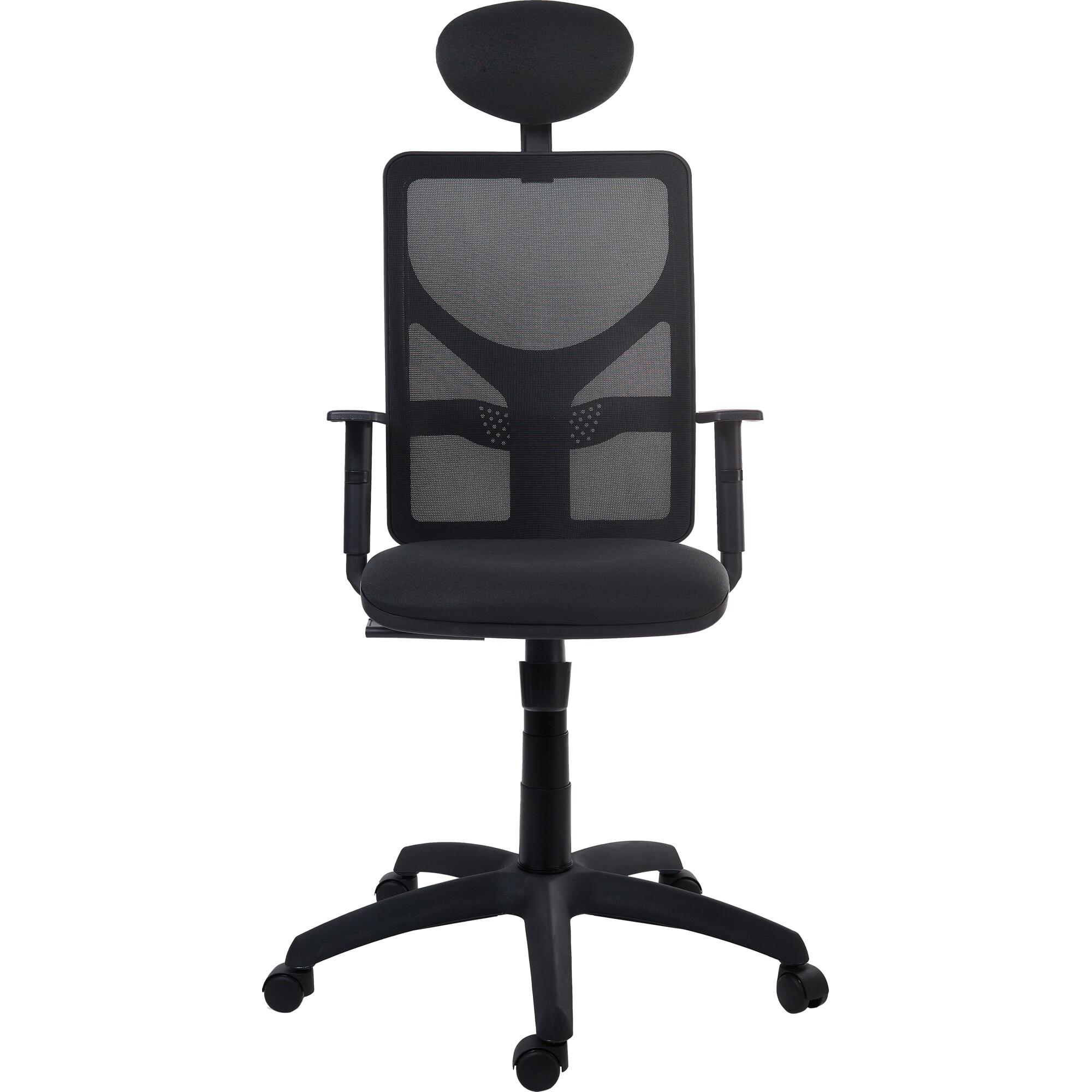 Fotografie Scaun de birou ANTARES Mag Pro PDH, cu tetiera, brate reglabile pe inaltime, suport lombar reglabil, mesh negru/textil E14 negru