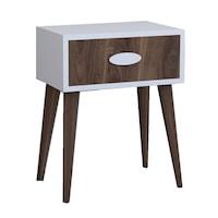 Noptiera moderna cu sertar Sara Homs 45 x 30 x 57.5 cm, Nuc-alb