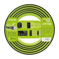 """Комплект градински маркуч Cellfast QUATTRO, 4 слоя, 1/2"""", Дължина 15 м, UV защита, Пръскачка, Конектор"""