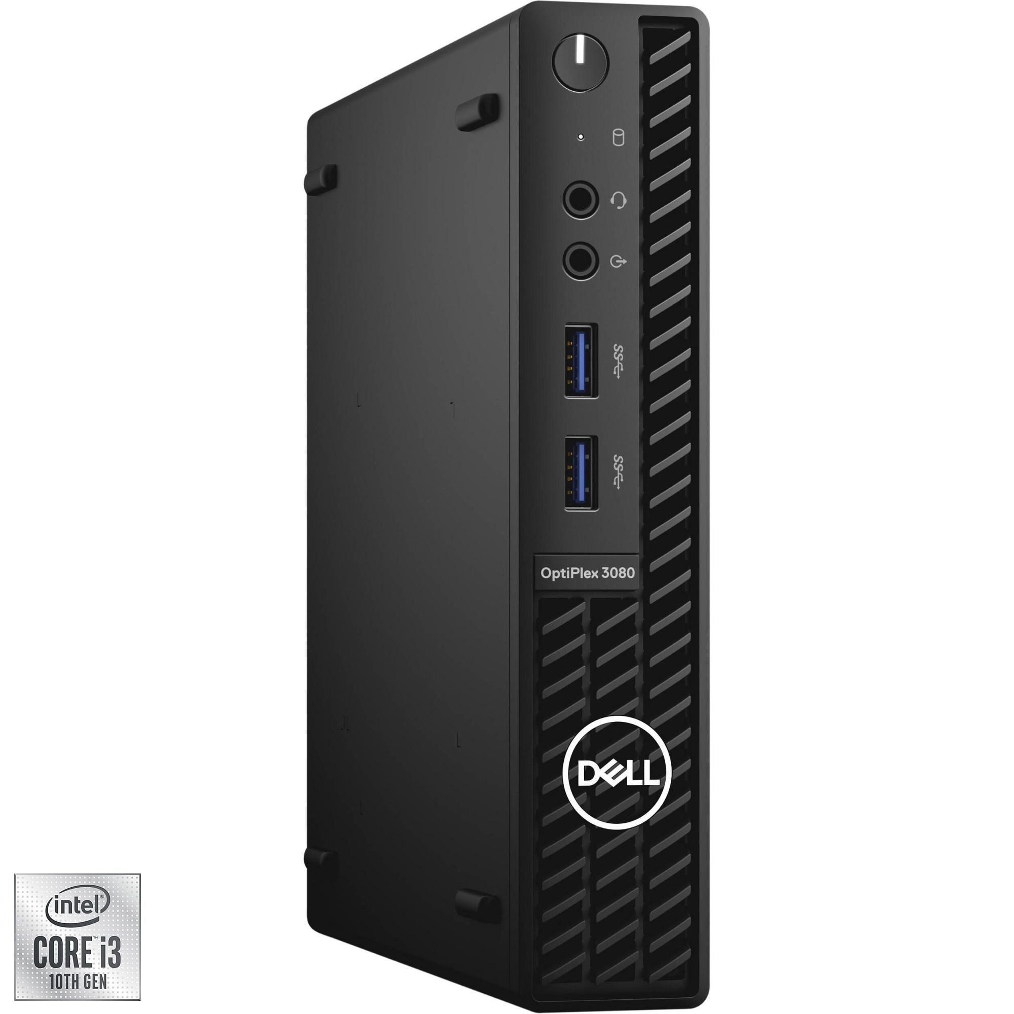 Fotografie Sistem Desktop Dell OptiPlex 3080 MFF cu procesor Intel® Core™ i3-10100T pana la 3.80 GHz, Comet Lake, 8GB DDR4, 256GB SSD, Intel® UHD Graphics 630, Windows 10 Pro
