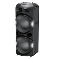 Boxa activa, Discoball, Bluetooth, USB, SD card, Radio FM, Aux, Microfon Wireless, Lumini LED, Putere 350W, Manere si Roti de transport, Negru