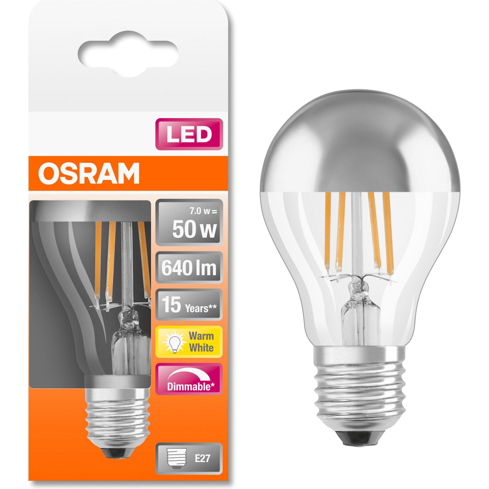 Fotografie Bec LED Osram cu oglinda pentru machiaj, filament, dimabil, A60, E27, 7W (50W), 640 lm, lumina calda (2700K), Argintiu