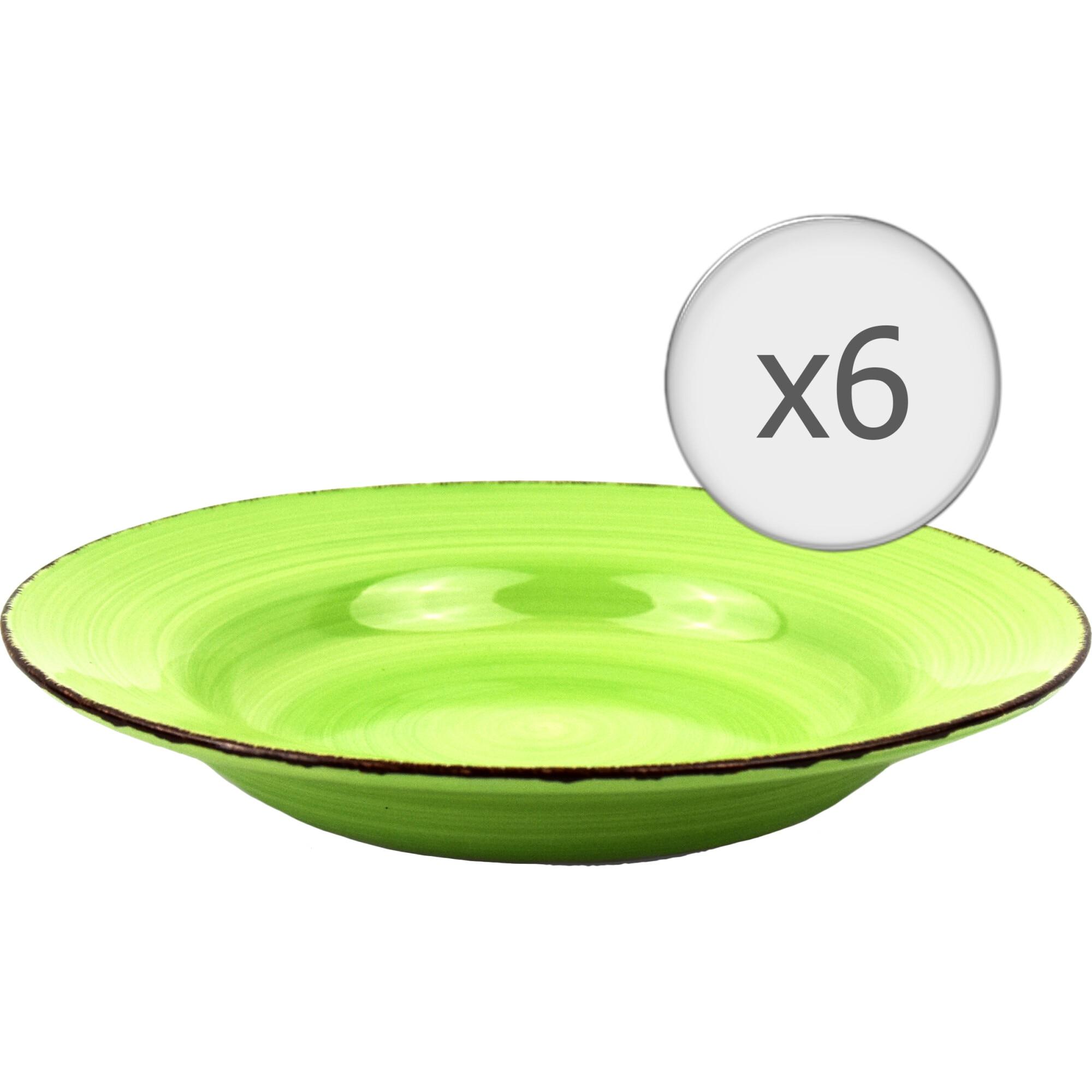 Fotografie Set 6 farfurii pentru paste Art of dining by HEINNER Gala, ceramica, 22 cm, verde