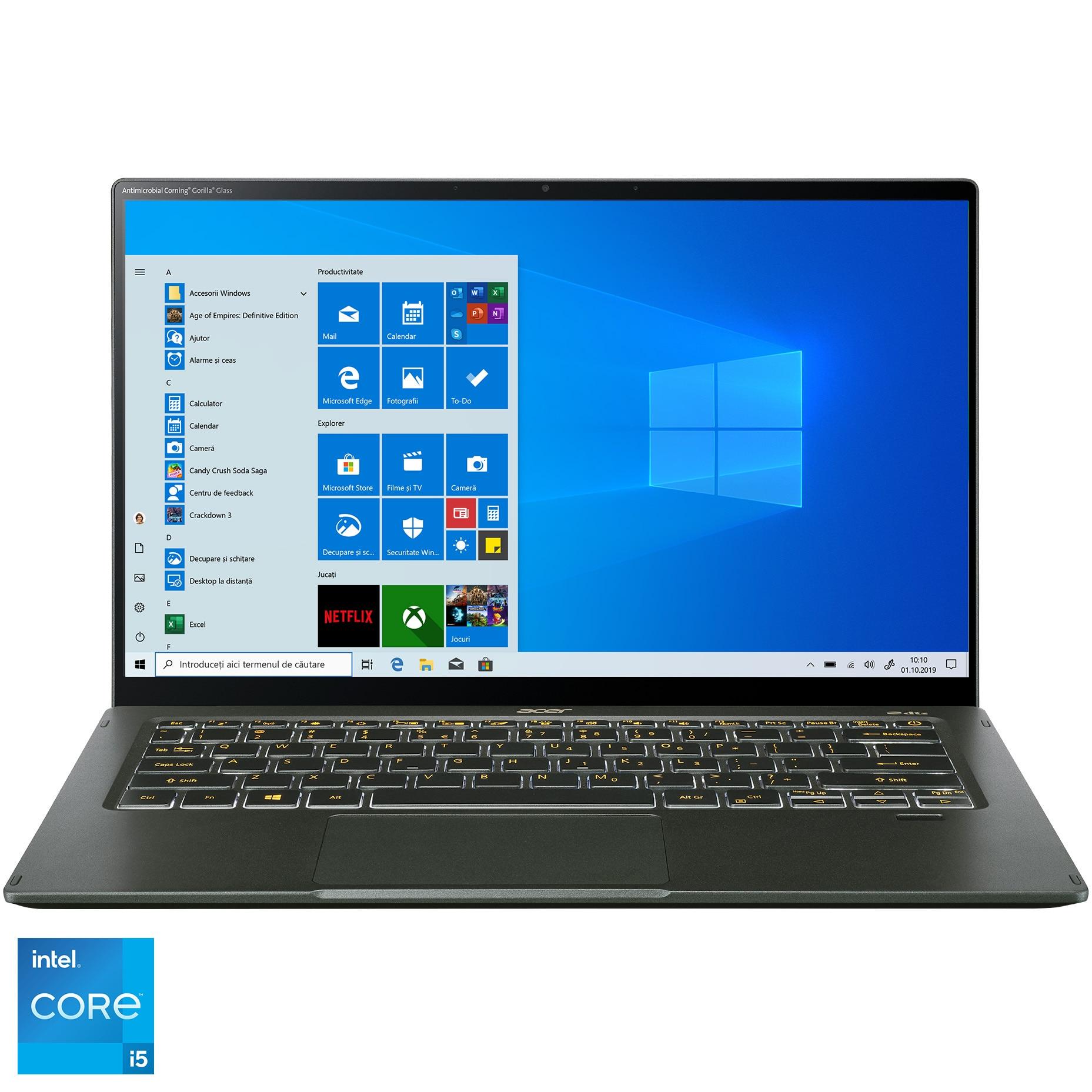 "Fotografie Laptop ultraportabil Acer Swift 5 SF514 cu procesor Intel Core i5-1135G7, 14"", Full HD, 16GB, 512GB SSD, Intel® Iris™ Xe Graphics, Windows 10 Home, Mist Green"