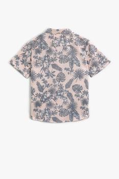 KOTON, Camasa de bumbac cu imprimeu tropical, Roz piersica/Gri